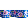 "Wide Blue Embroidered Flower Row- 1-1/2"" - Kaffe Fassett - by the yard"