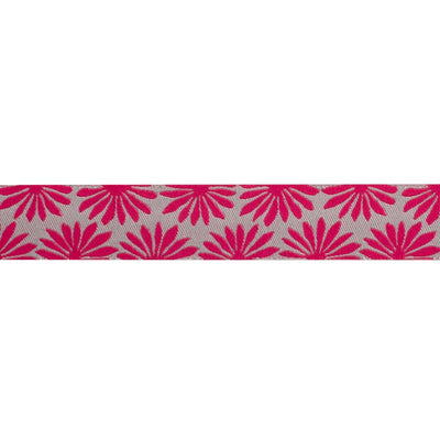 "Gerbera Hot Pink on Silver - 7/8"" - Kaffe Fassett - by the yard"