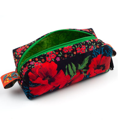 Kit Zipper Pouch Velvet Red Poppies on Black
