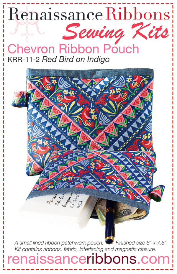 Kit Chevron POUCH Red Bird on Indigo
