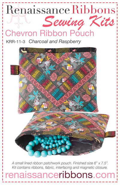 Kit Chevron POUCH Charcoal/Raspberry