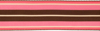 Pink, taupe and brown striped Gros Grain