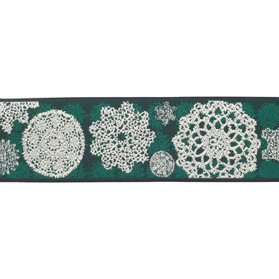 "Lace doilies on green - LFNT - 1-1/2""- by the yard"