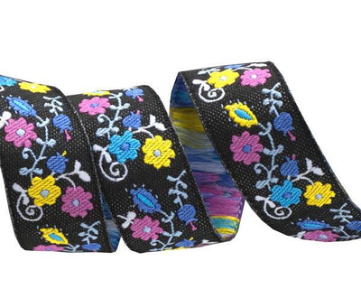 "Pink/Blue on Black Mini Suzani Floral -LFN Textiles - 5/8"" -by the yard"