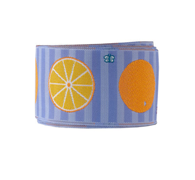 "Oranges on mauve stripe - LFNT - 1-1/2""- by the yard"