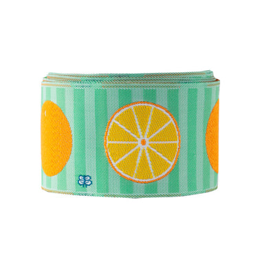 "Oranges on green stripe - LFNT - 1-1/2""- by the yard"