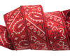 "Bandana on Red- by Raphael Kerley - 7/8"" -by the yard"