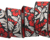 "Tropical Hibiscus red & black- by Raphael Kerley - 7/8"" -by the yard"