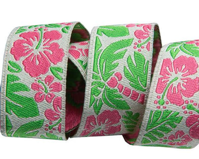 "Tropical Hibiscus Pink & Green- by Raphael Kerley - 7/8"" -by the yard"