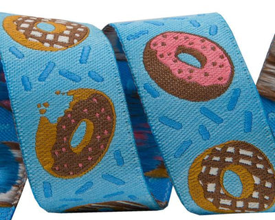 "Donuts on Blue  - 7/8"" -by the yard"