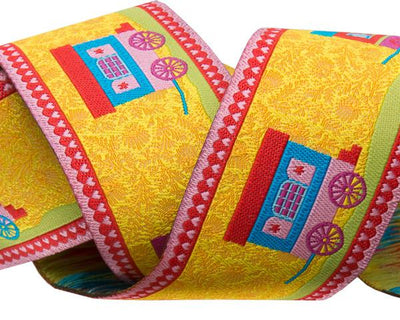 "Yellow Gypsy Roulotte - 1-1/2""- by the yard"