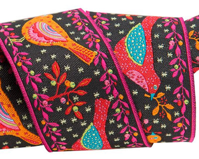 "Red and Orange Birds on Black - 1-1/2""- by the yard"