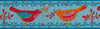 "Red and Orange Birds on Blue - 1-1/2""- Odile - by the yard"