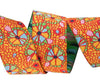 "Mosaic Floral on Orange  - 7/8"" -by the yard"