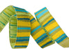 "Green Fanciful stripes   - 3/8"" -by the yard"