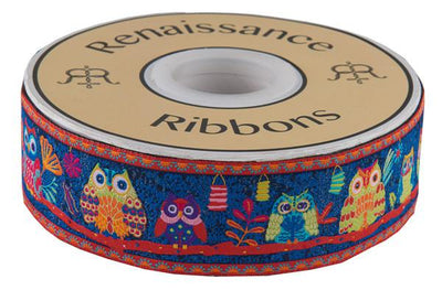 "Wide Forest Owls on Midnight Blue - 1-1/2""- by the yard"