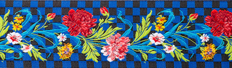 "Flowers and Checkerboard - 1-1/2"" - Odile - by the yard"