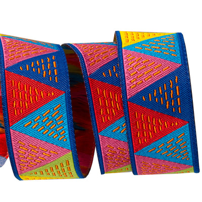 "Triangles Pink Blue Yellow - 7/8"" - Odile Bailloeul- by the yard"