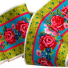 Pink roses on Green- Printed Velvet Border