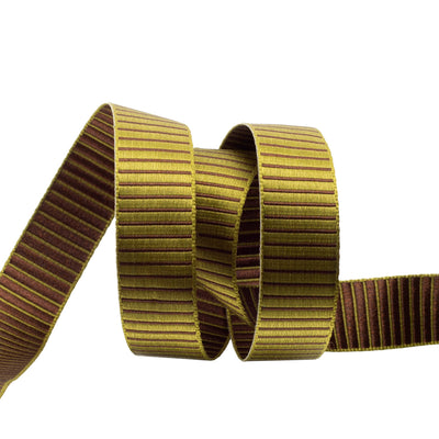 Olive green and brown reversible stripe - 5/8""
