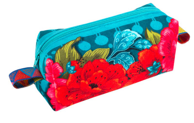 Kit Zipper Pouch Velvet Peonies Blue