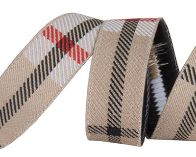 "Tan Woven Plaid  - 5/8"" -by the yard"
