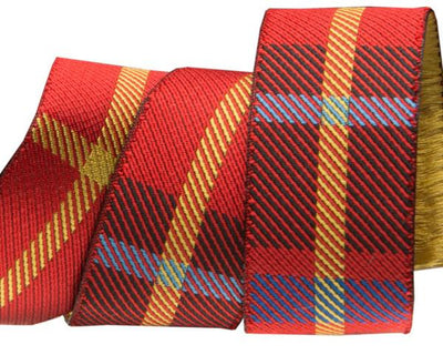 "Red Woven Plaid  - 7/8"" -by the yard"