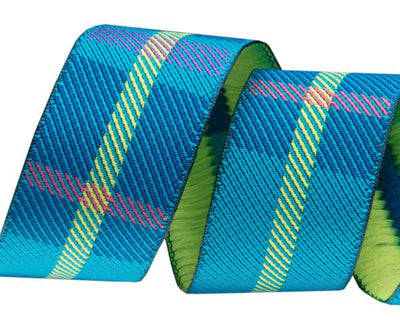 "Turquoise Woven Plaid 7/8' - 7/8"" -by the yard"
