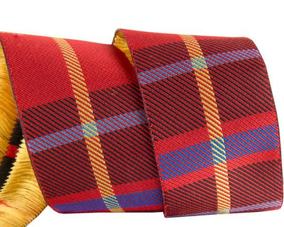 "Red Woven Plaid - 1-1/2""- by the yard"