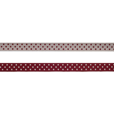 Burgundy/Silver Reversible Dots - 3/8""
