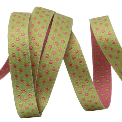 Lime/Pale Pink Reversible Dots - 3/8""