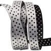 Black and silver polka dot ribbons