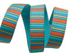 "Turquoise/Orange Mini Stripes - 3/8"" -by the yard"