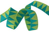 "Turquoise Stems on Green ribbon - 3/8"" -by the yard"