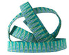 "Aqua Green Stems on Stripes ribbon - 3/8"" -by the yard"