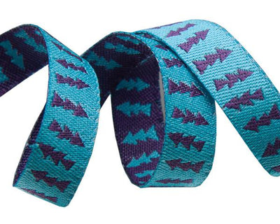 "Reversible Turquoise & Purple Arrows - 3/8"" -by the yard"