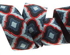 "Midnight Blue and red Lantern Ribbon by Tula Pink - 7/8"" -by the yard"