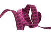"Burgundy on Pink Wanderer ribbon - 3/8"" -by the yard"