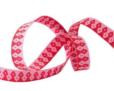 "Hot Pink on Pink Wanderer ribbon - 3/8"" -by the yard"