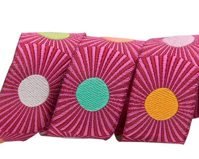 "Pink stripes/dots  - 7/8"" -by the yard"