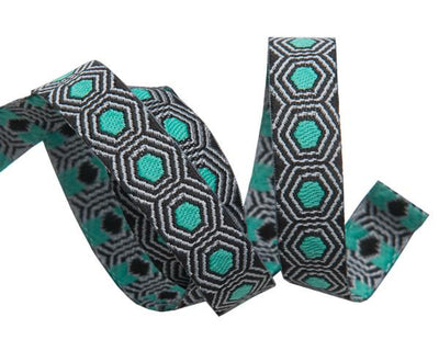 "Tiny Mint Tortoise dots on Black  - 3/8"" -by the yard"