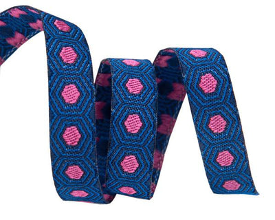 "Tiny Pink Tortoise dots on Dark Blue  - 3/8"" -by the yard"