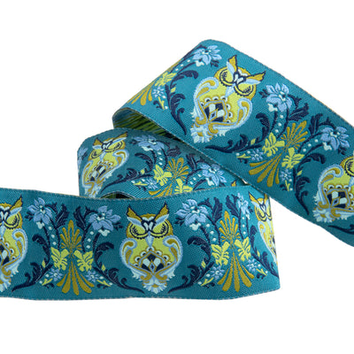 "Midnight Owls on green by Tula Pink  1-1/2"" - by the yard"
