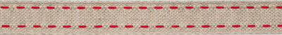 Red saddle stich on dark linen- 2 rows
