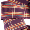 Gold plaid with stripes on eggplant - by 1/2 yd