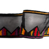 Multi-colored fiesta chevron on black voile - by 1/2 yd