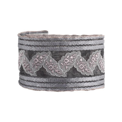Overlapping leaf on transparent ribbon in oyster gray - by 1/2 yd