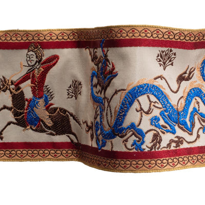 Persian dragon and hunter on antique cream silk - by 1/2 yd