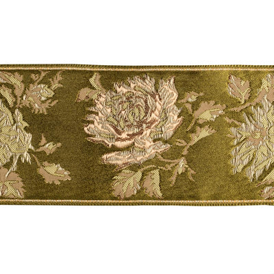 Tree peony and leaves on olive green silk ground - by 1/2 yd