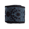Tiny velvet flowers and sprigs in blue on blue - by 1/2 yd
